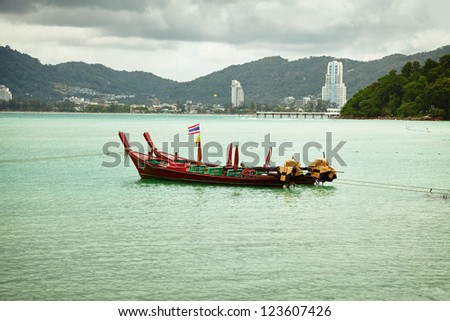 Thailand longtail boats in the bay near Patong. Thailand