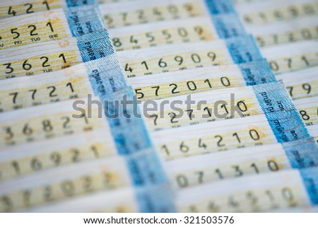 Thailand lottery ticket blurred - stock photo