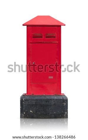 Thailand Mail postbox red isolated on white background, public