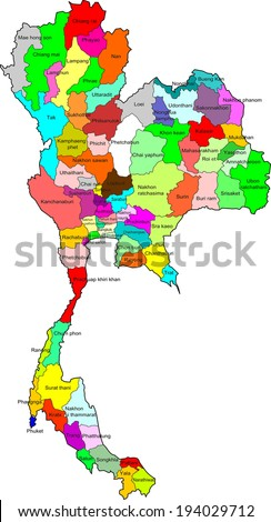 thailand map color 77 province update 2014