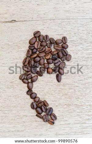Thailand Map made by Coffee Beans - stock photo