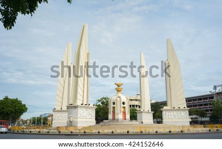 Thailand - May20 , 2016 : Democracy Monument . Bangkok Built as a memorial to the change of government from absolute monarchy to democracy .