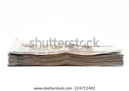 Thailand money banknotes isolated on white background - stock photo