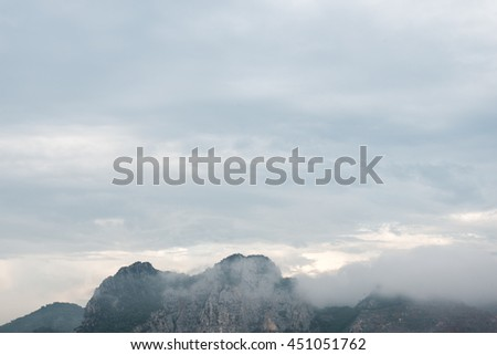 Thailand mountains misty landscape.