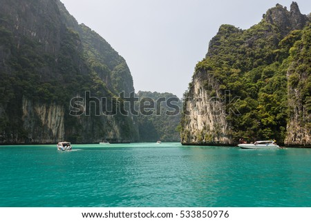 Thailand. Ocean water, mountains jungle. Boat and nature, oceanic landforms