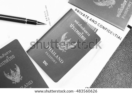 Thailand passport and document containing plastic bag represent the tourism and travel industry concept related idea.