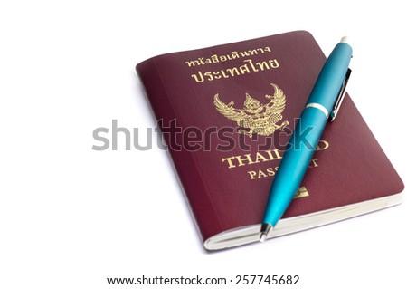 Thailand passport isolated on white - stock photo