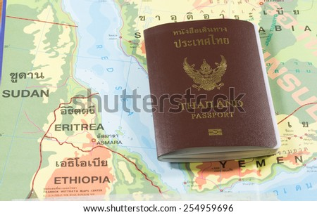 Thailand Passports on a map of the Sudan,Ethiopia,Eritrea and Red Sea. - stock photo