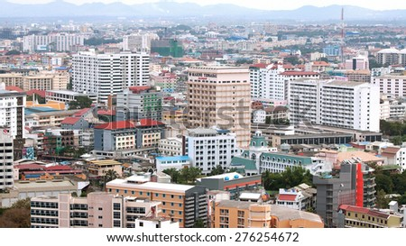 THAILAND, PATTAYA - MARCH 06: Panorama of the city, top view on March 06.2015 in Pattaya, Thailand