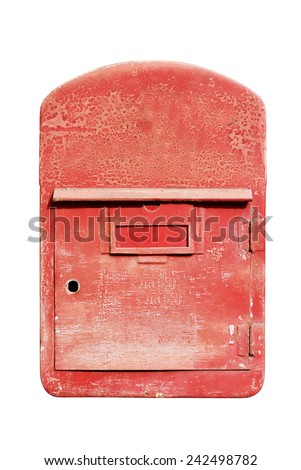Thailand red post box isolate on white background. - stock photo