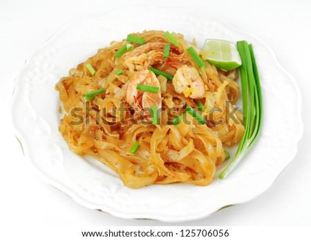Thailand's national dishes, stir-fried rice noodles (Pad Thai) - stock photo