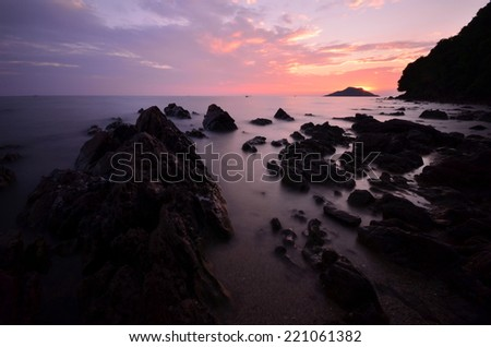 Thailand seascape,View point after sunset,Chantaburi province,Thailand.
