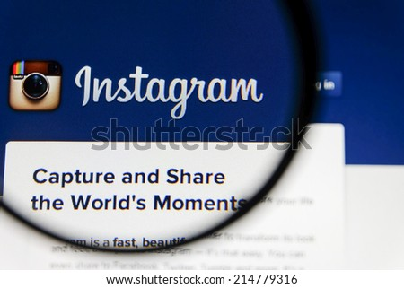 THAILAND - SEPTEMBER 2, 2014: Magnifying glass of Instagram landing page website view on web browser. - stock photo