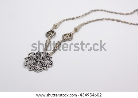 Thailand silver necklace, Beautiful nice shiny silver detailed handcraft belt as vintage fashion accessories for sale in a jewelry shop in Thailand - stock photo