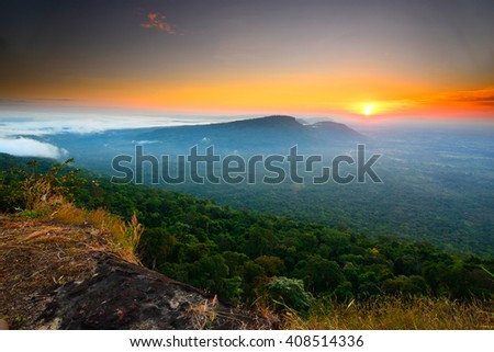 Thailand sunrise First-cliff point Pha Mo e Dang Srisaket province Thailand.