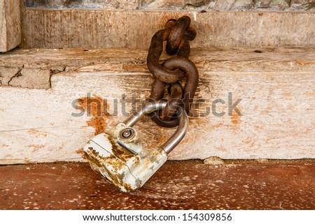 Thailand Temple lot church door antique key - stock photo