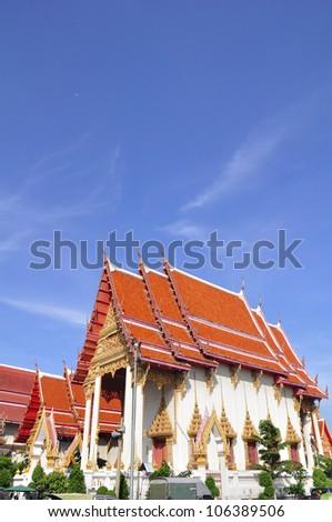 Thailand Temple on blue sky - stock photo