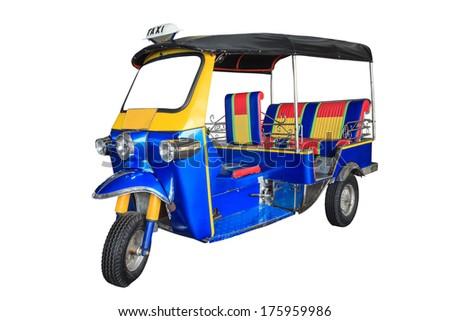 Thailand three wheel native taxi (Tuk Tuk) - stock photo