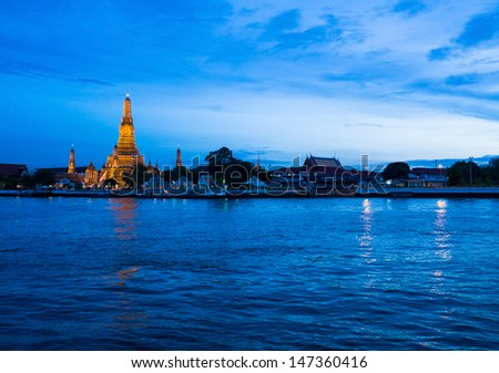 Thailand Tradition Landmark, Wat Arun, Bangkok - stock photo