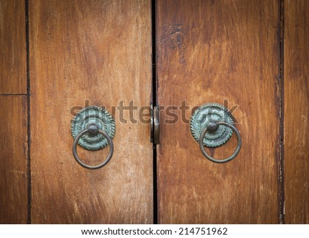 Thailand traditional  Old Door in the outdoor - stock photo