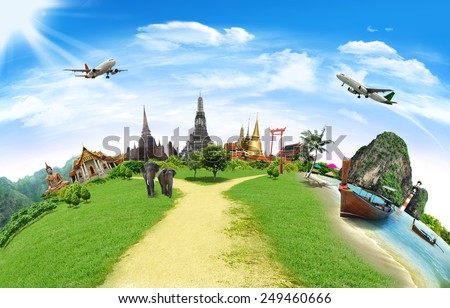 Thailand travel background, concept  - stock photo