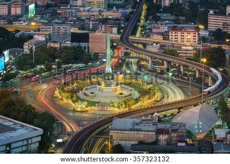Thailand victory monument, km 0and main traffic for road in Bangkok, Thailand - stock photo