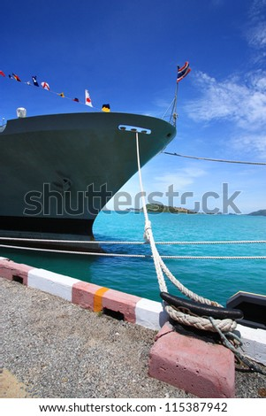 Thailand warship in the Bay. - stock photo