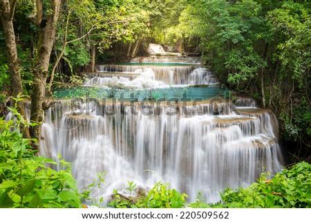 Thailand waterfall in Kanchanaburi (Huay Mae Kamin) - stock photo