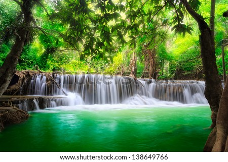 Thailand waterfall in Kanjanaburi (Huay Mae Kamin) - stock photo