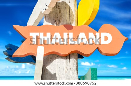 Thailand welcome sign with beach - stock photo