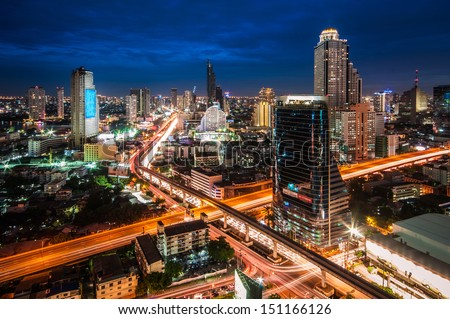 Thailand X-Cross cityscape at twilight time - stock photo