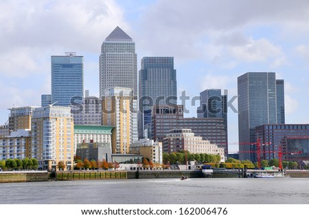 Thames and London City, Great Britain, Europe - stock photo
