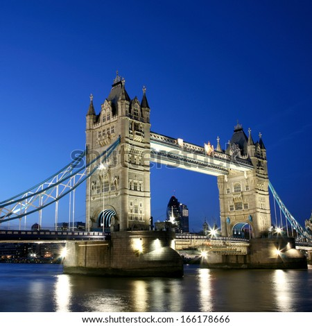 Thames River Night View with Tower Bridge - stock photo