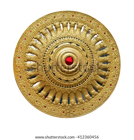 Thammachak wheel was symbol of Buddhism gold and red color isolate on white background. This has clipping path. - stock photo
