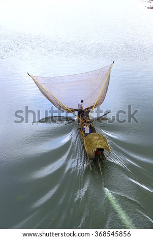 THANH HOA, VIETNAM. FEBRUARY 4, 2014. A view of fishing boat on river. THANH HOA, VIETNAM.