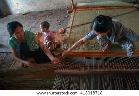 THANH HOA, Vietnam, March 14, 2016 rural women Nga Son district, Thanh Hoa province, Vietnam, sedge mat weaving