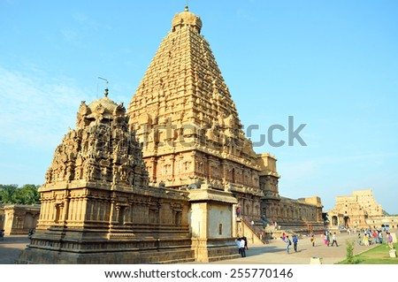 THANJAVUR, INDIA â?? FEBRUARY 6, 2015: Brihadeeswara Temple was constructed between 1002 and 1010.Temple tower is 66 meters high and is believed that 130000 tons of granite was used to construct it. - stock photo