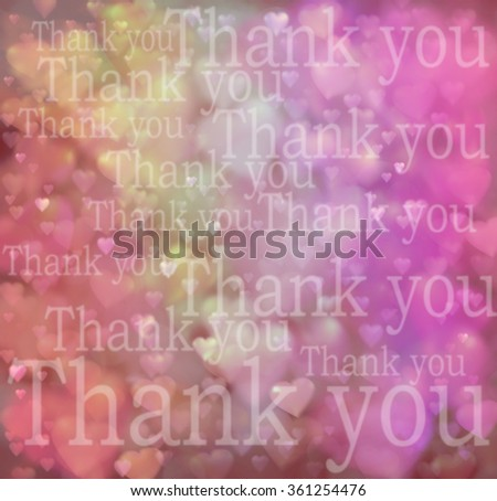 Thank You Background - Large area of soft pink, red and yellow covered with different sized hearts and different sized transparent 'Thank you' words randomly placed across the area - stock photo