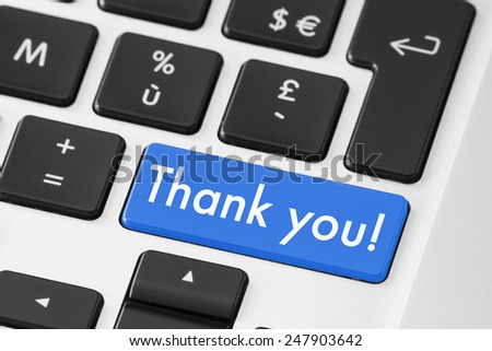 Thank you button keyboard for polite feedback - stock photo