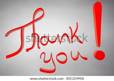 Thank You Calligraphy Hand Lettering sign on a white background.  - stock photo