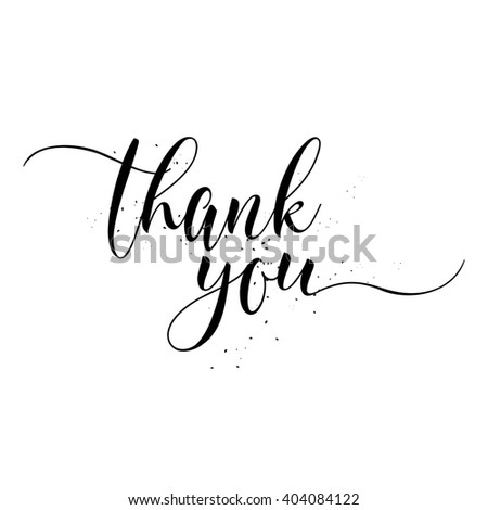 Thank You calligraphy sign. Brush painted letters. Gratitude illustration. - stock photo