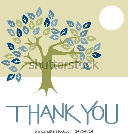 Thank you card graphic with tree and sun - stock photo