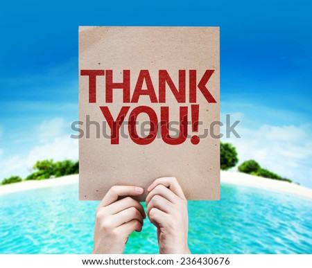 Thank You card with a beach on background - stock photo