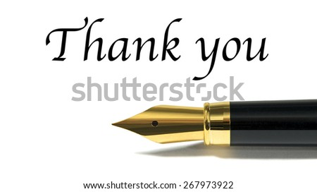 Thank you card with golden fountain pen isolated on white