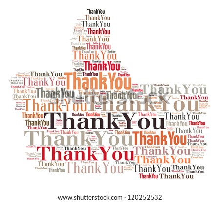 Thank you composed in thumb up shape - stock photo