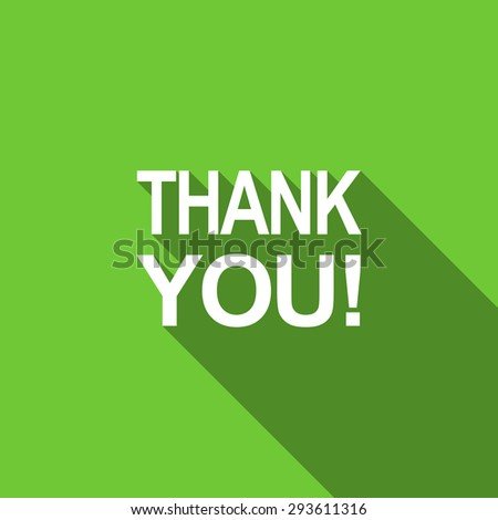 thank you flat icon  original modern design green flat icon for web and mobile app with long shadow  - stock photo