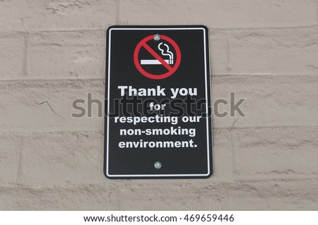 Thank you for respecting our non-smoking environment sign on wall