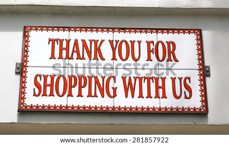 thank you for shopping with us. tile sign - stock photo