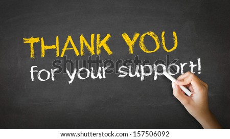 Thank you for your support Chalk Illustration - stock photo