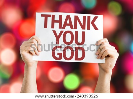 Thank You God card with colorful background with defocused lights - stock photo